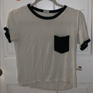 white and black rubber tee